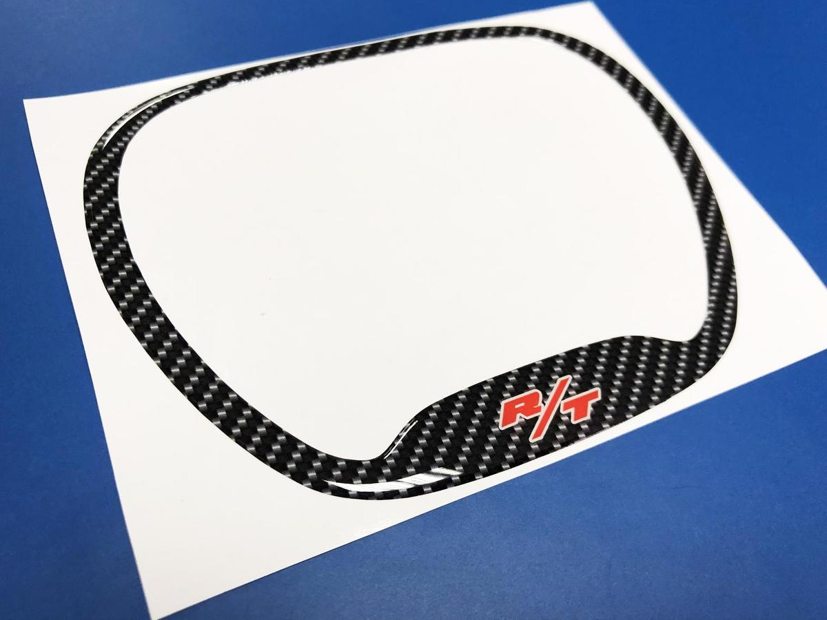 Steering WHEEL TRIM RING Carbon imitation with Red R/T domed decal Dodge