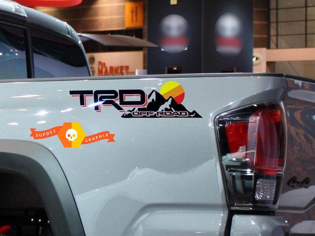 TRD Off Road Vintage Sunset Style 4x4 PRO Sport Off Road Side Vinyl Stickers Decal Toyota Tacoma Tundra FJ Cruiser