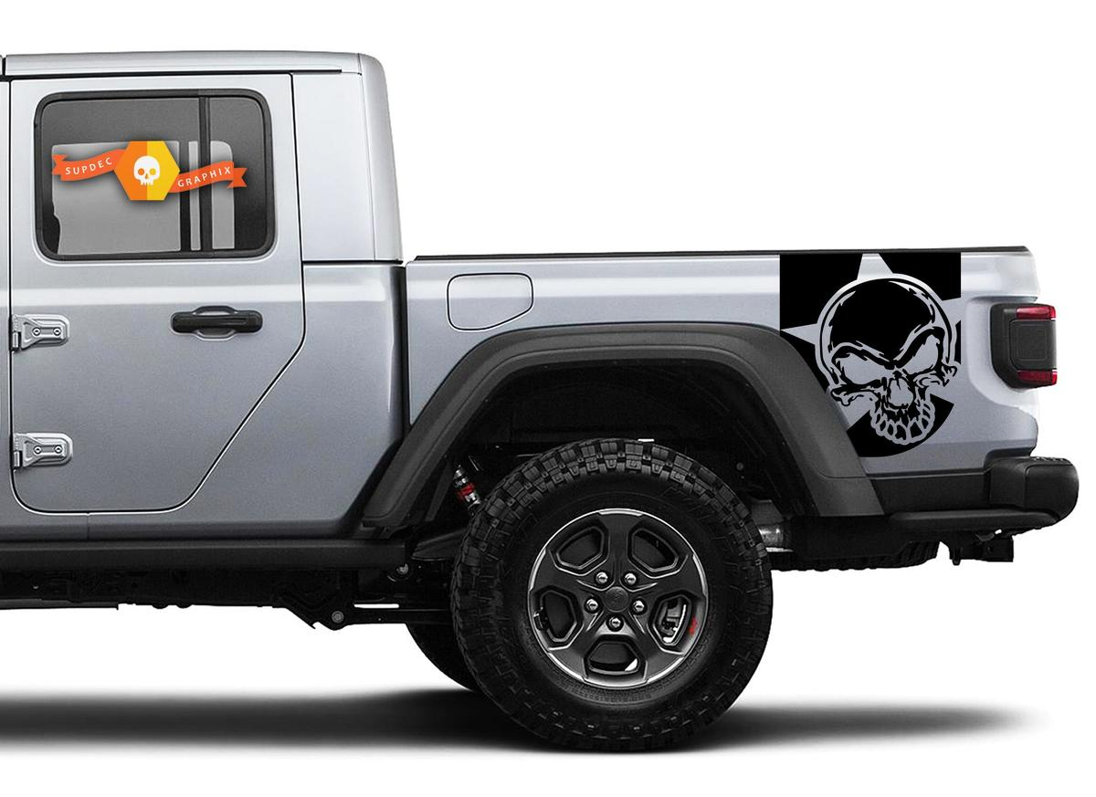 Pair of Jeep Gladiator Side Door Stripes Skull  Star Decals Vinyl Graphics Stripe kit for 2020-2021 for both sides