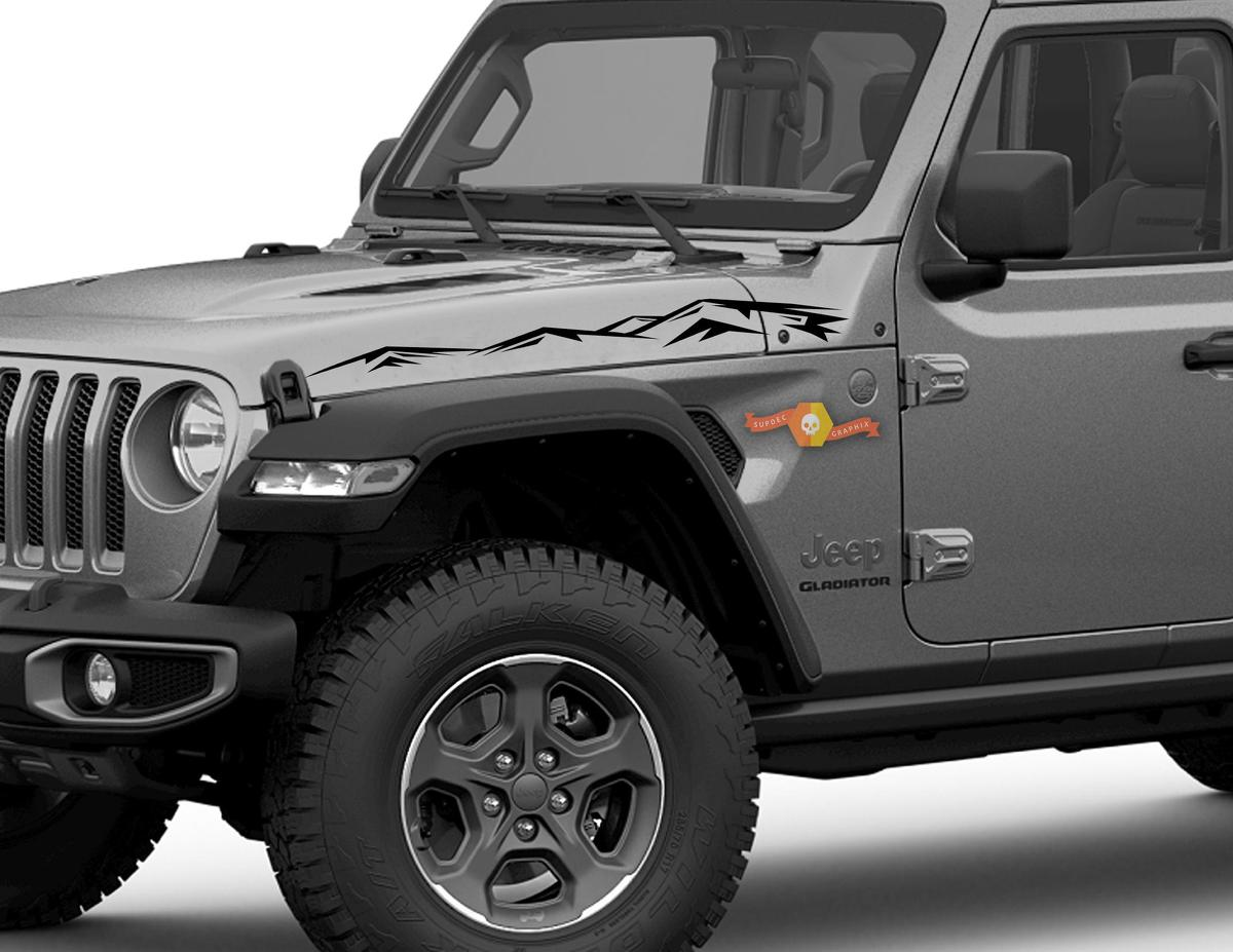 pair of jeep gladiator side jt wrangler jl jlu hood