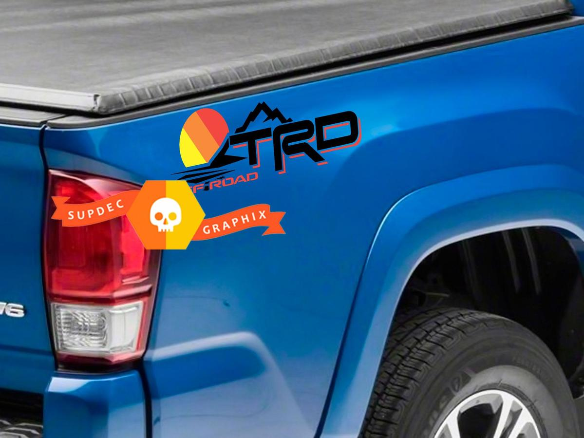 Pair of TRD Off Road Mountains Line Vintage Old Style Sunset Line Style Bed Side Vinyl Stickers Decal Toyota Tacoma Tundra FJ Cruiser