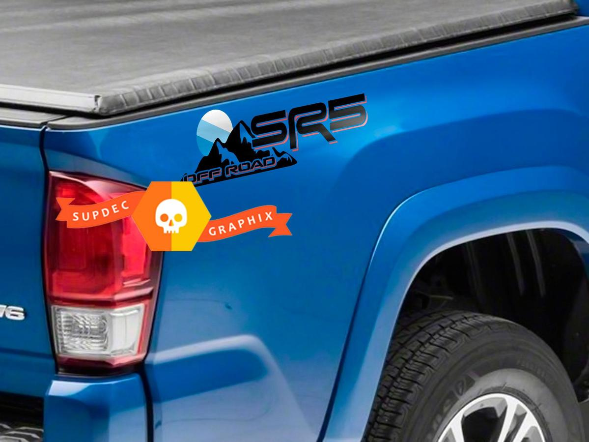 Pair of SR5 Off Road Mountain Blue Shadows Sun Sunset JDM Style Bed Side Vinyl Stickers Decal Toyota Tacoma Tundra FJ Cruiser
