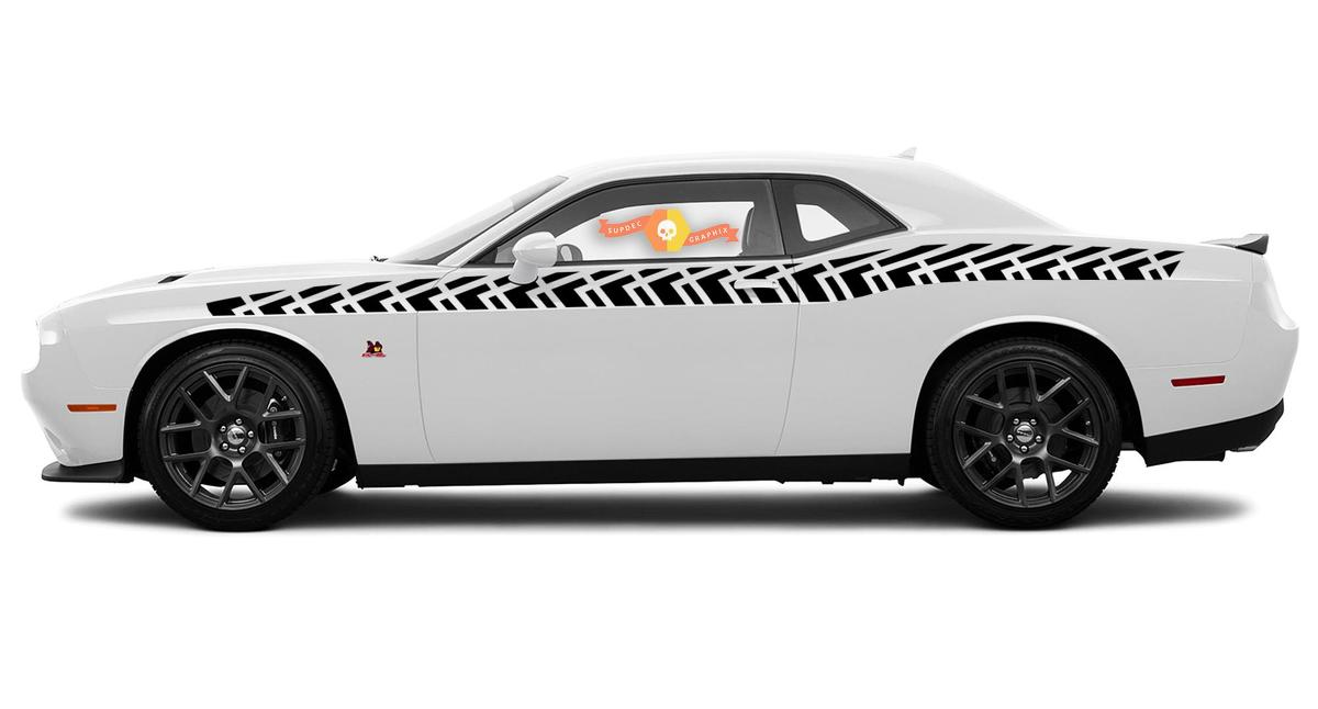 Pair of Dodge Challenger Full Length Style Bodyline Strobe Racing Stripe Kit for 2008 & Up