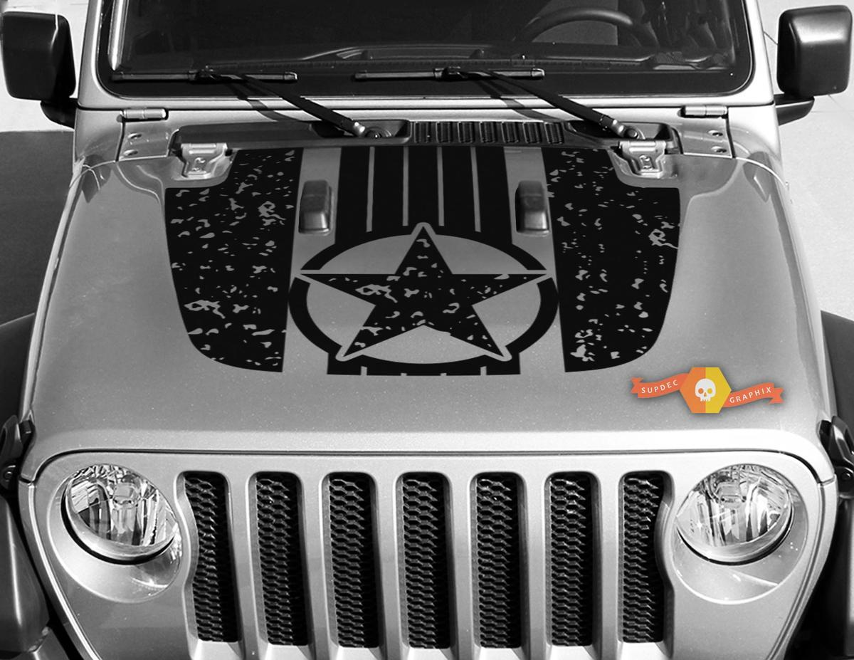 Jeep Gladiator JT Wrangler Military Star Destroyed Camouflage Camo JL JLU Hood style Vinyl decal sticker Graphics kit for 2018-2021