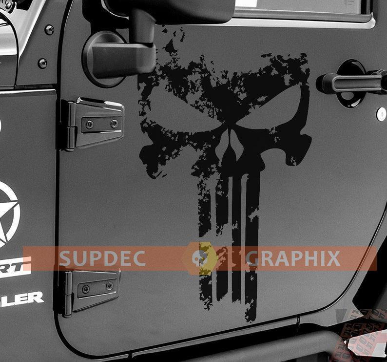 Yuzlder Jeep decals 3D Metal for punisher Skull Logo Car Side Fender Rear Trunk