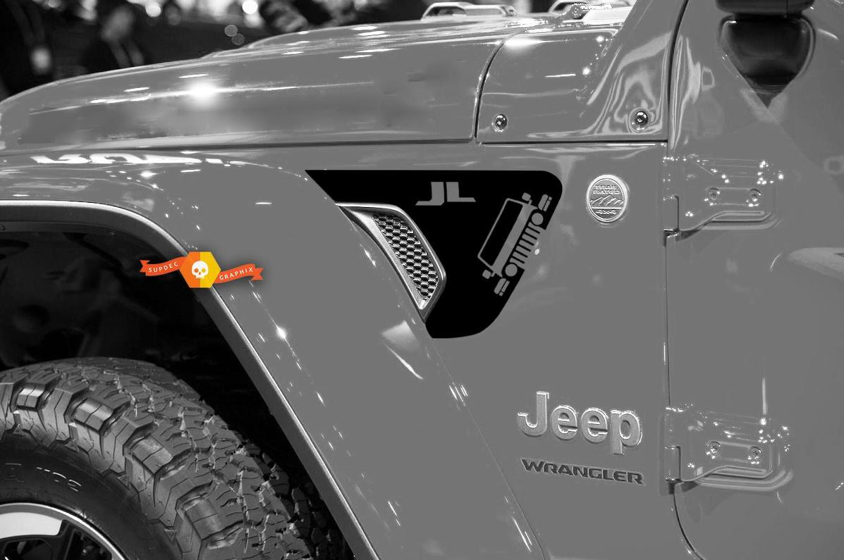 Pair of Jeep Wrangler 2018 JL JLU Face Front Fender Vent Accent 2pc Vinyl Decal Graphic kit for 2018-2021 for both sides
