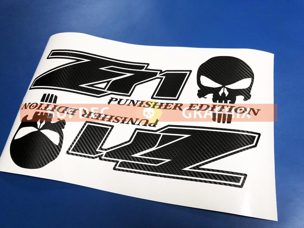 Paar Z71 Punisher Edition 4X4 Offroad Vinyl Carbon Aufkleber Aufkleber LKW Silverado Chevrolet