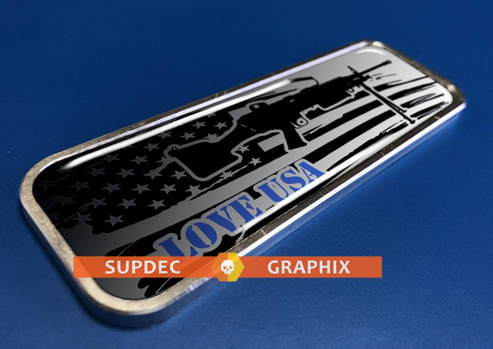 USA Gun Patriotic Metal Aluminum Badge Bed Side Emblem Aluminium