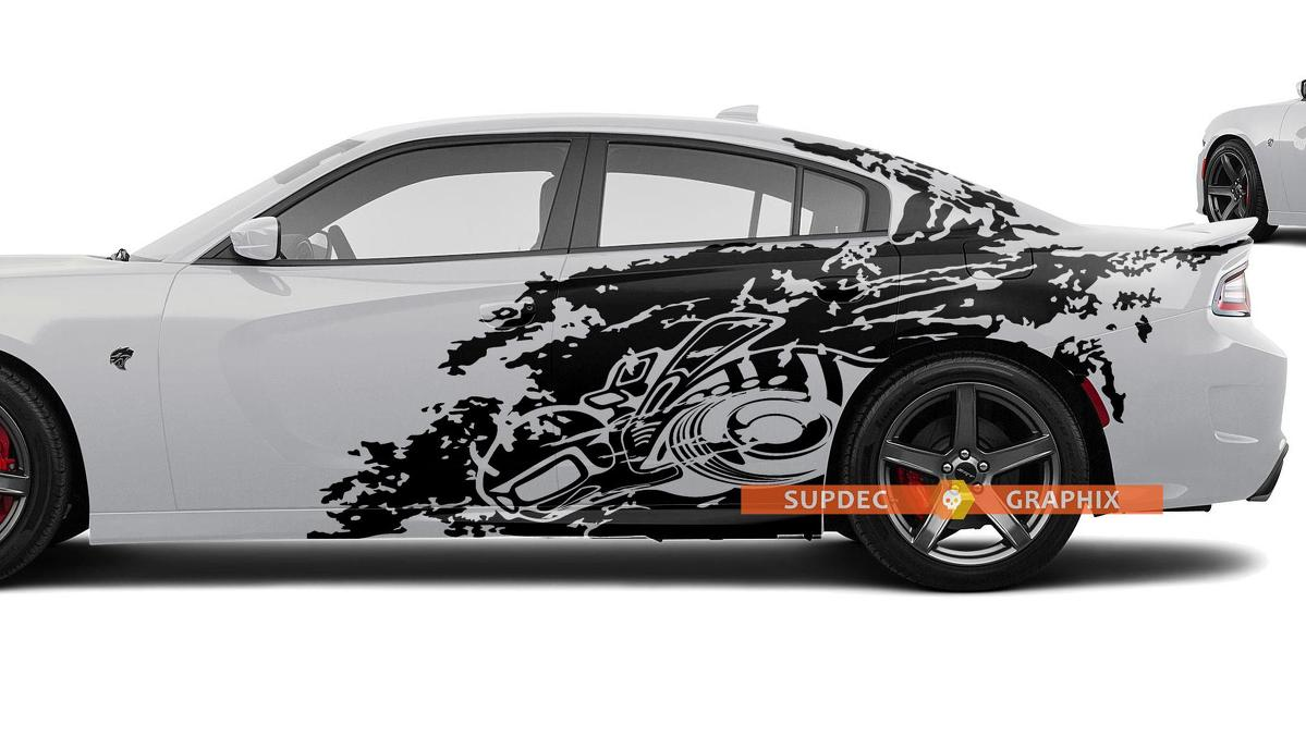Dodge Challenger Ladegerät Super Bee Stil Splash Grunge Streifen Kit Hell Cat Vinyl Aufkleber Grafik