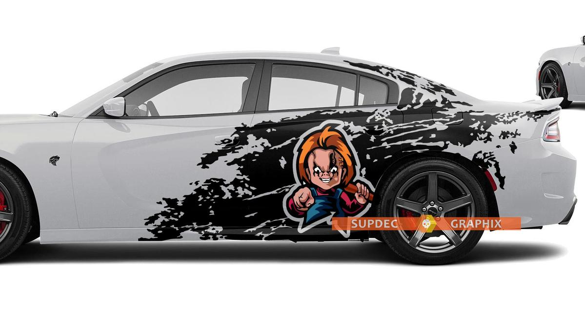 Dodge Challenger Charger Chucky style Splash Grunge Stripes Kit Hell Cat Vinyl Decal Graphic