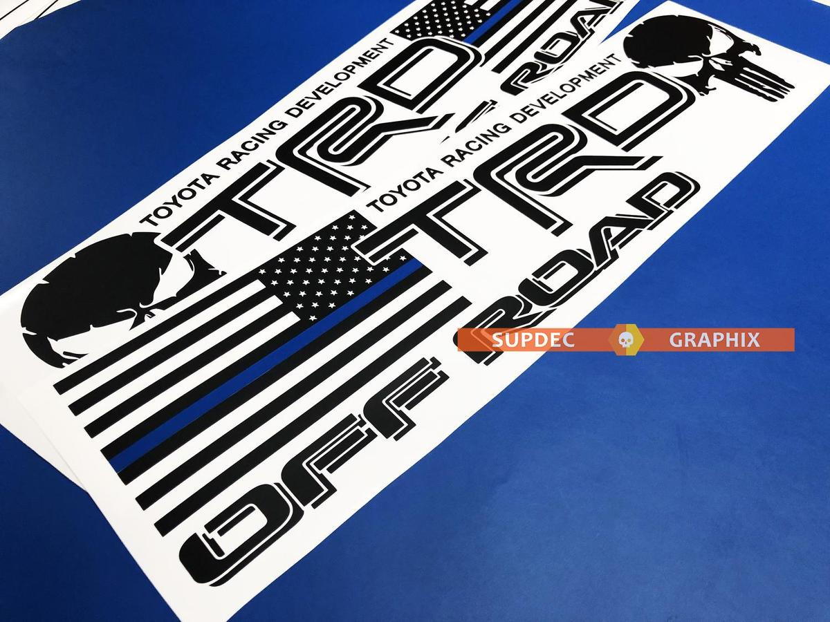 TRD US Punisher Blue Line off road Toyota Tacoma Tundra FJ Cruiser sticker decal any colors