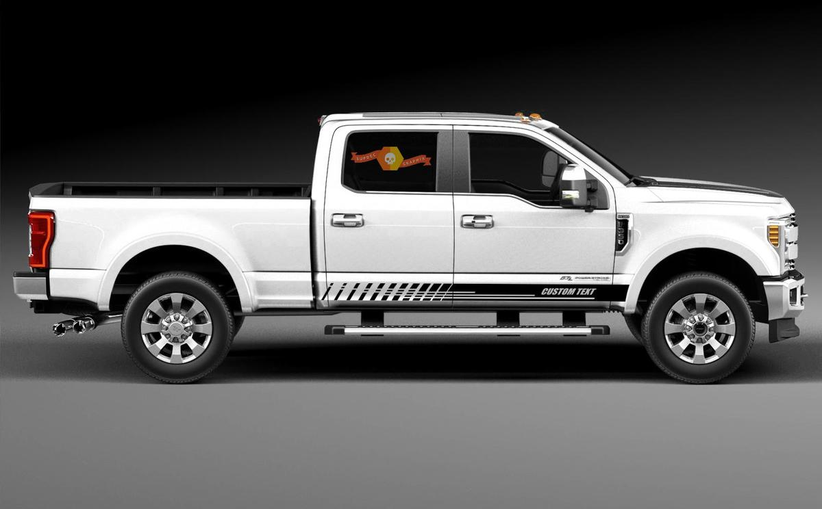 Racing rocker panel stripes vinyl decals stickers for Ford F-350 2020