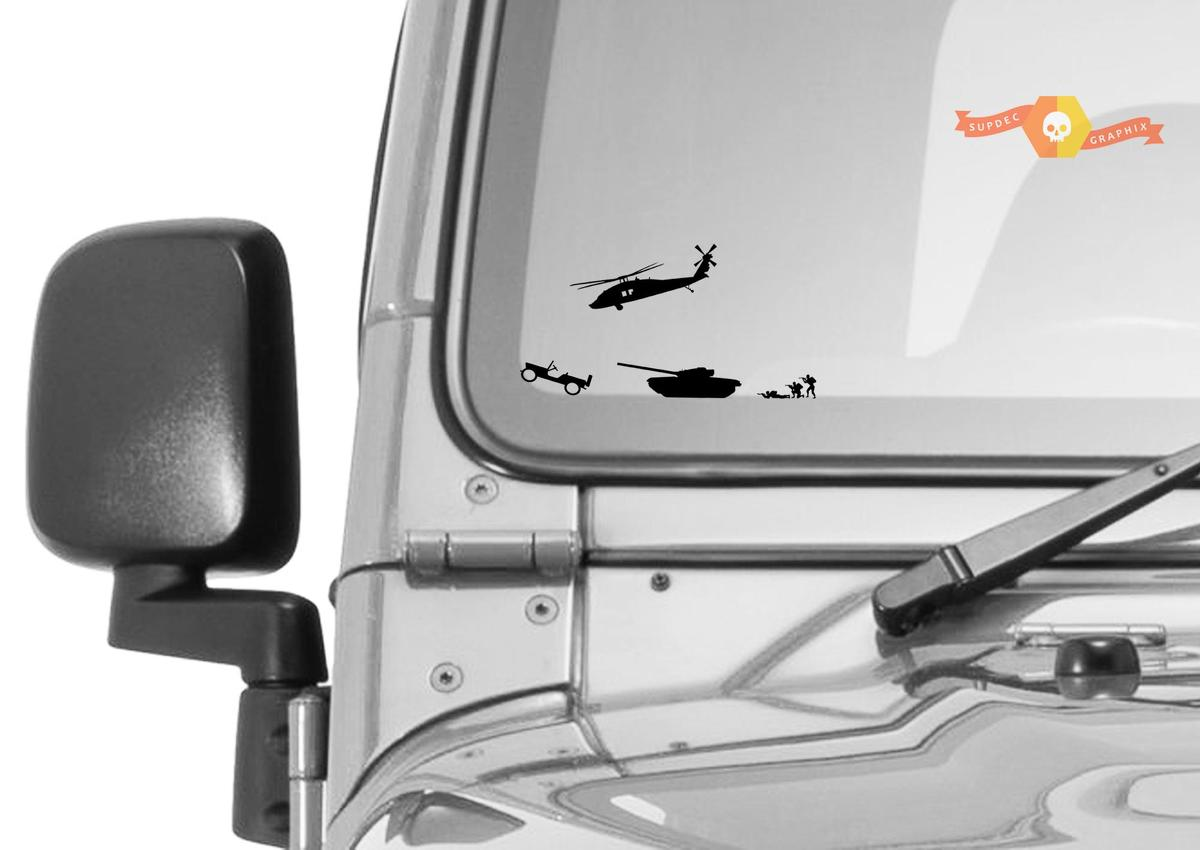 Military Convoy Jeep Windshield Corner Crawler Chaser Vinyl Decal