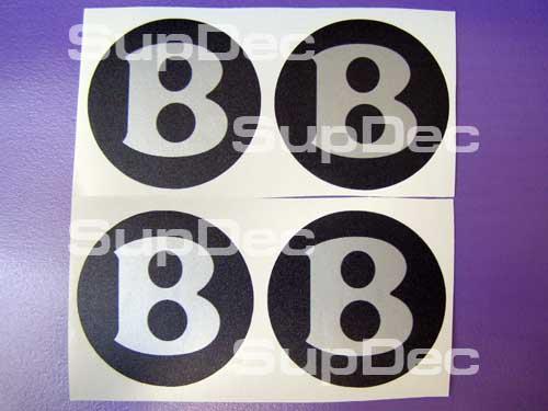 Bentley schwarz silber 4 Mittelkappen Aufkleber Logo B.