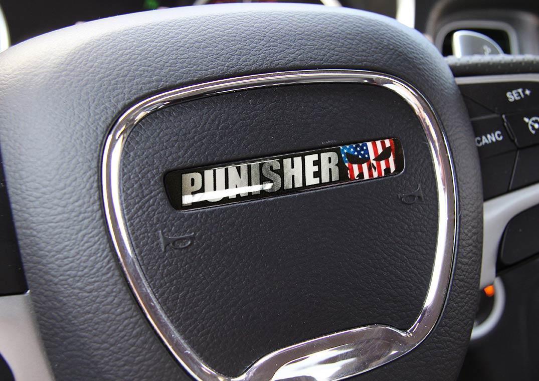 Ein Lenkrad Punisher Challenger Charger Emblem Kuppel Aufkleber