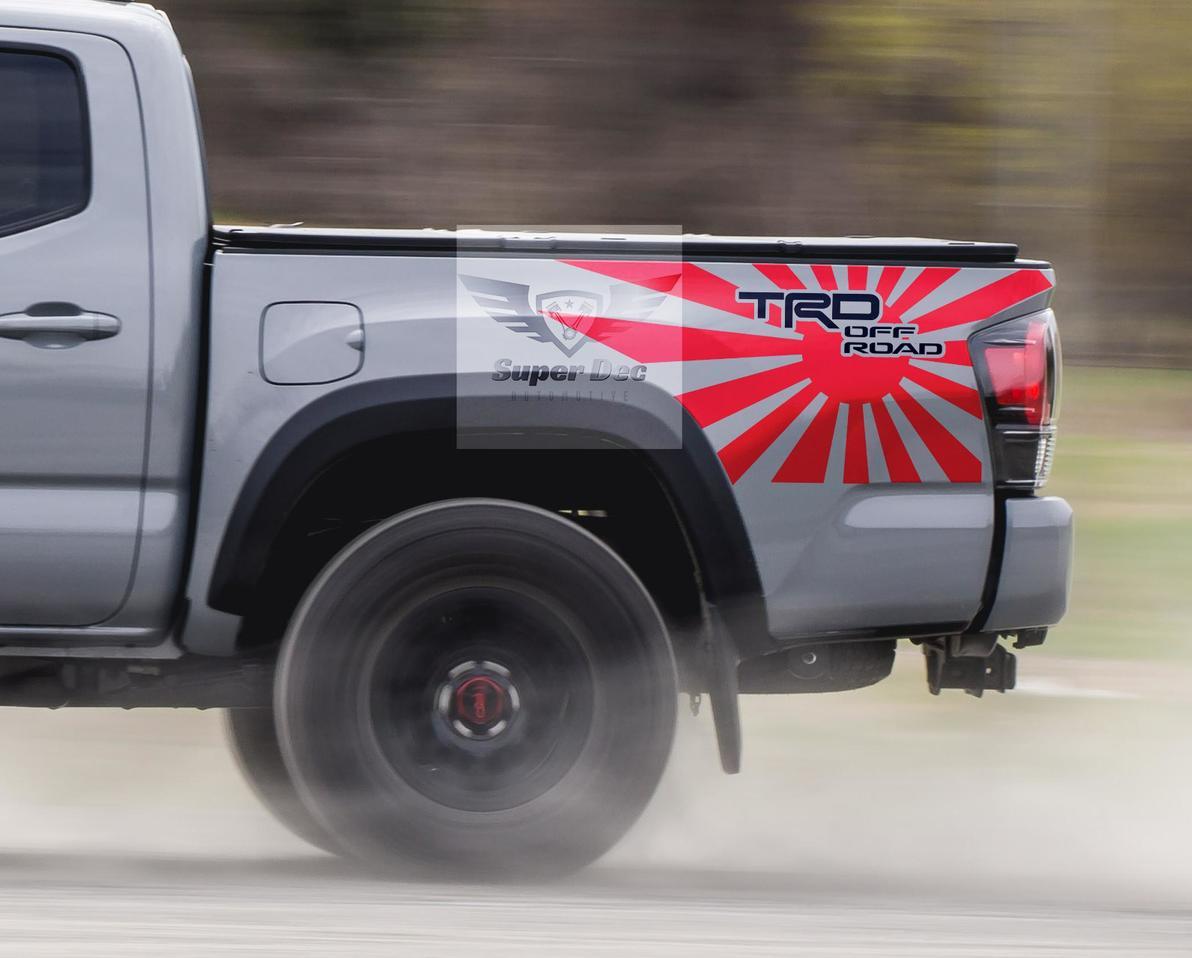 TRD Riesige JDM Flagge 4x4 PRO Sport Off Road Side Vinyl Aufkleber Aufkleber passend zu Tacoma 2013 - 2020 oder Tundra 2013 - 2020