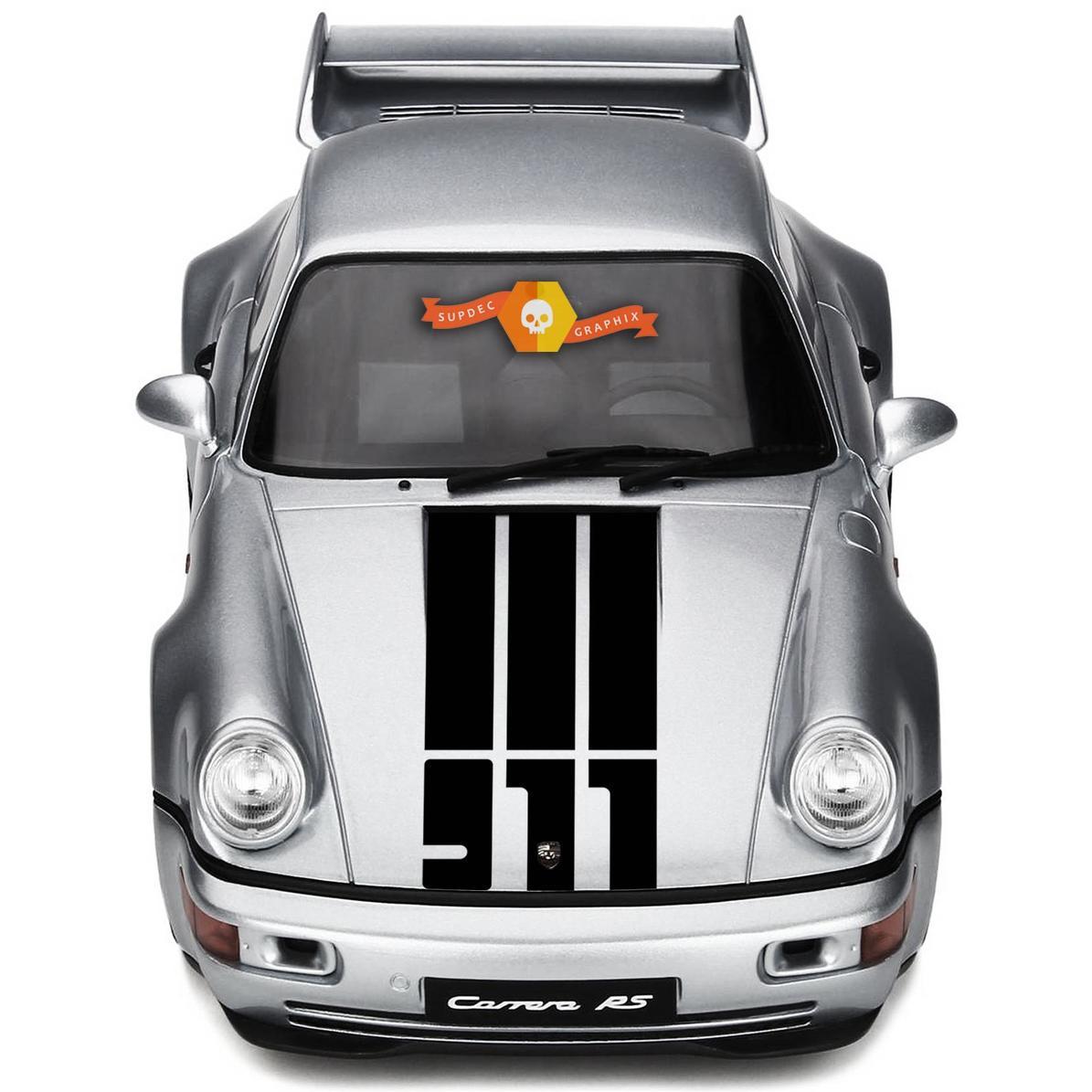 Porsche 911 Hood Central 3 Stripes And 911 Logo Decal Sticker