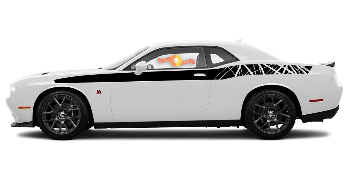 2X Dodge Challenger R / T Zerstörte Waldzweige Zweige Rocker Panel Aufkleber Stripe Vinyl Graphics