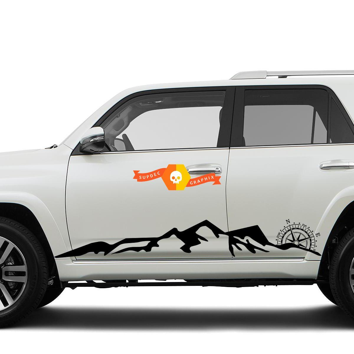 Side Mountains and Compass Rocker side travel Vinyl Sticker Decal fit to Toyota 4Runner 16-20 TRD
