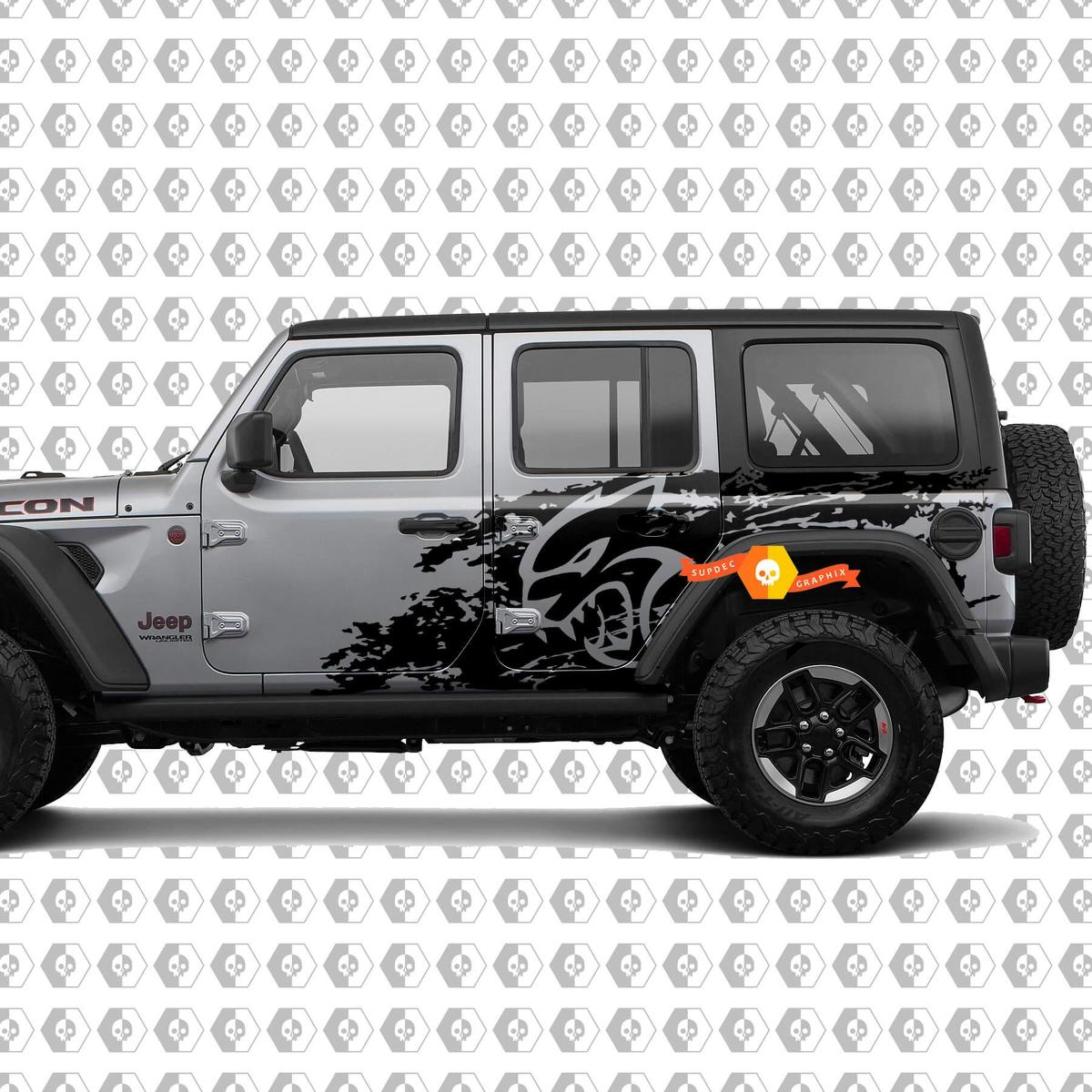Jeep Wrangler Unlimited Hellcat style Splash Grunge Bed Side Bedside Kit Hell Cat Vinyl Decal Graphic