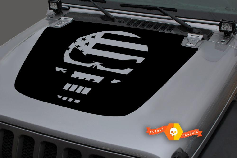Jeep 2018-2021Gladiator Wrangler JL JLU JT Hood Skull Punisher US USA Flag Vinyl Decal Sticker Graphic