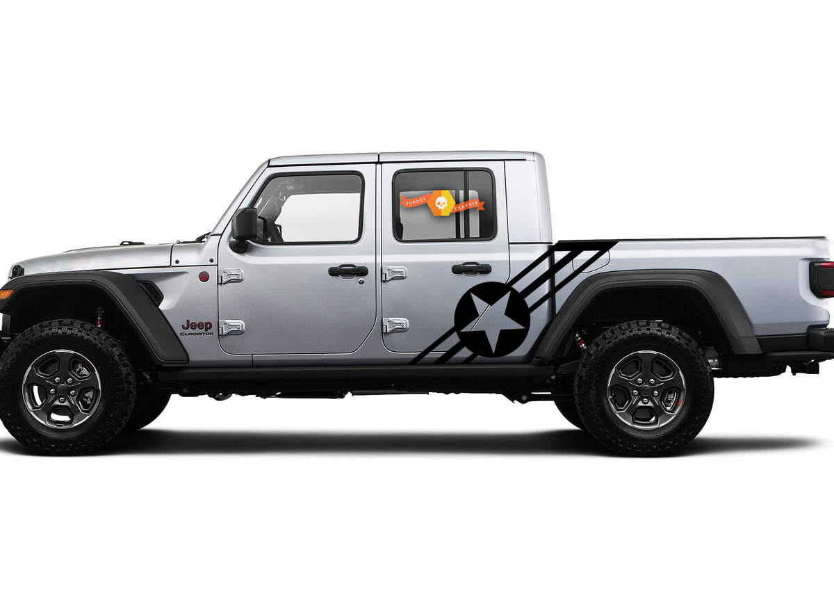 Pair of Jeep Gladiator Side Door Stripes Navy Army USA Star Decals Vinyl Graphics Stripe kit for 2020-2021 for both sides