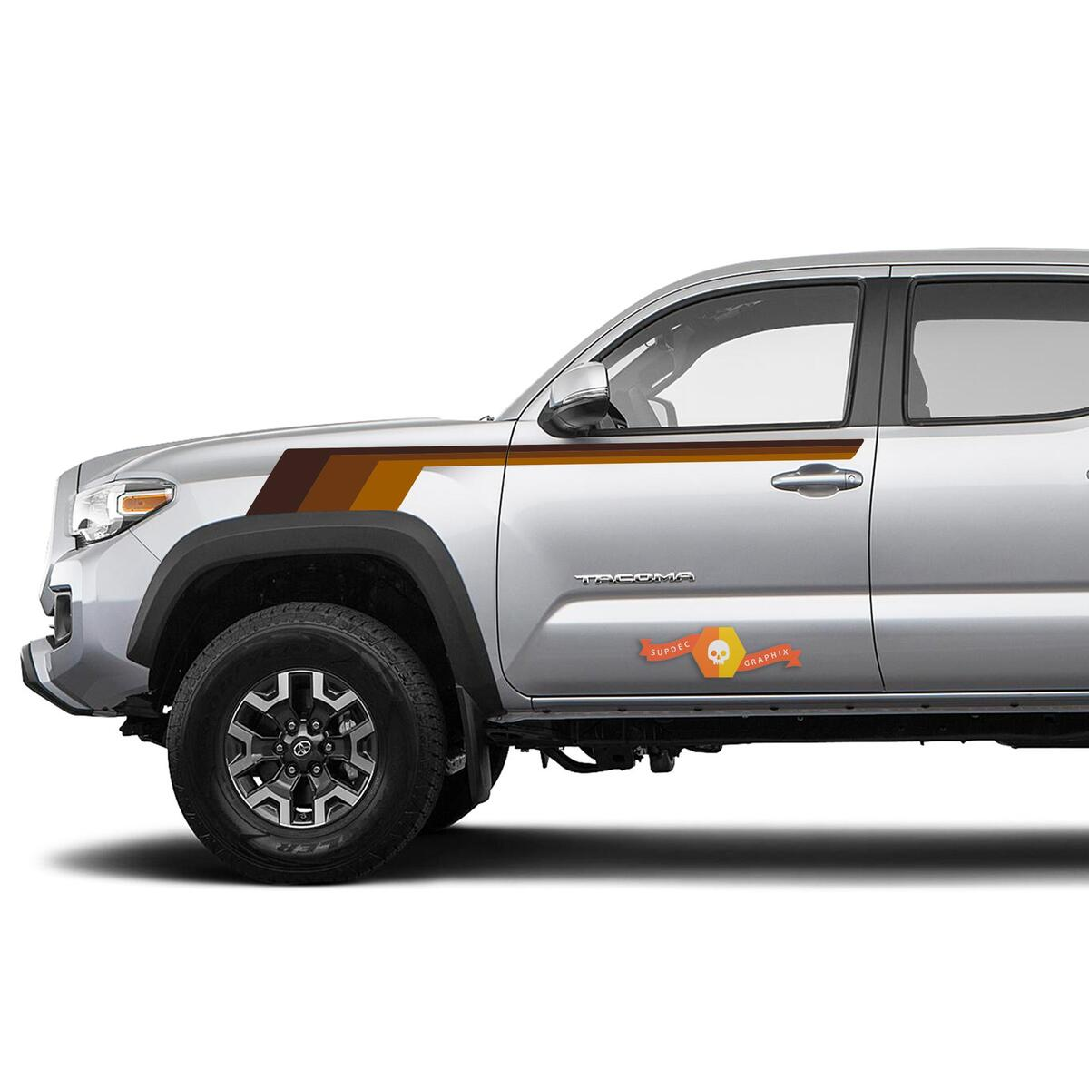 Toyota Trd Old Style Tacoma Vintage Style Brown Shadows Graphics Side Decal Stripe Decal
