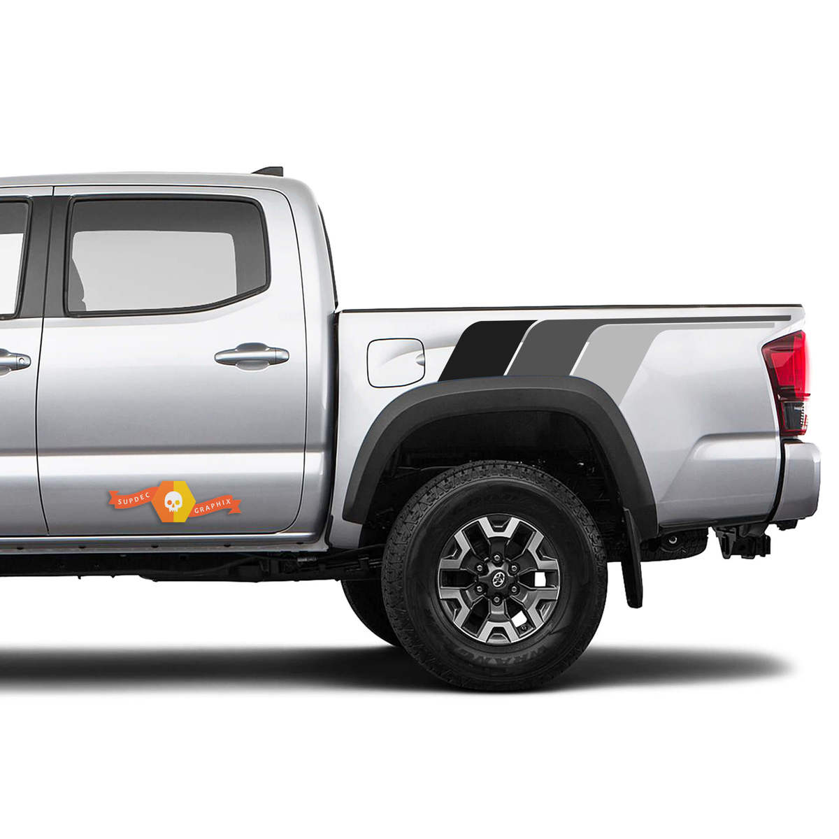 2 Toyota Tacoma TRD Back To The Future monochrome retro vintage stripe kit for rear Sport 4x4 Off Road PRO decal