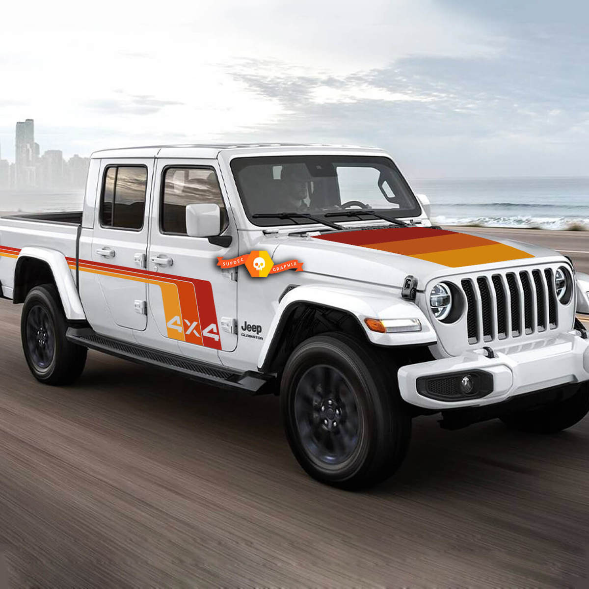 graphic kit - Jeep Gladiator 2020 Rubicon retro vintage 4x4 80s racing stripe kit sport Off Road