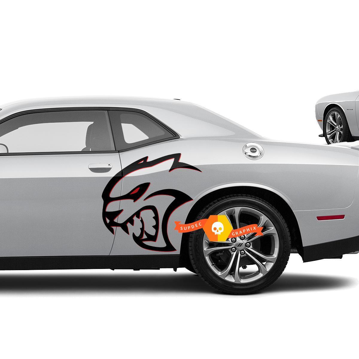 Zwei Farben Hellcat Red Eye Side Decals Aufkleber für Dodge Challenger Redeye oder Charger