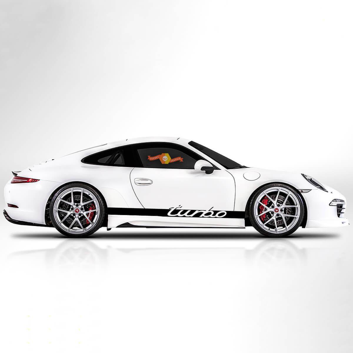 Porsche Rocker Panel Racing Turbo Side Side Stripes Decal Sticker
