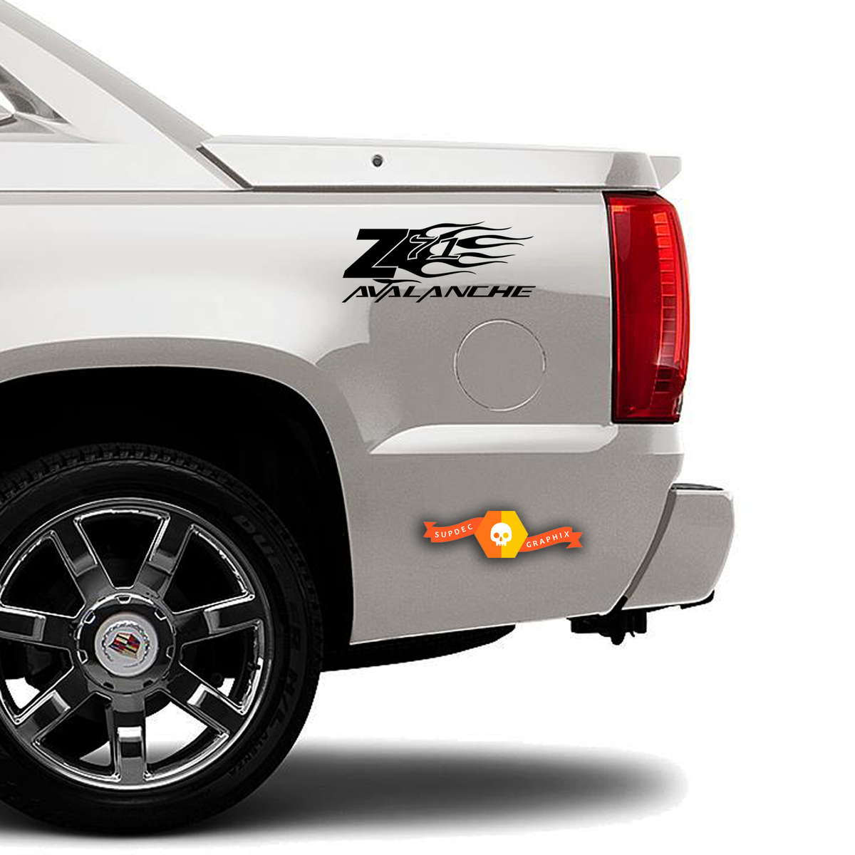 Z71 CHEVY AVALANCHE flame TRUCK BED SIDE  DECAL SET