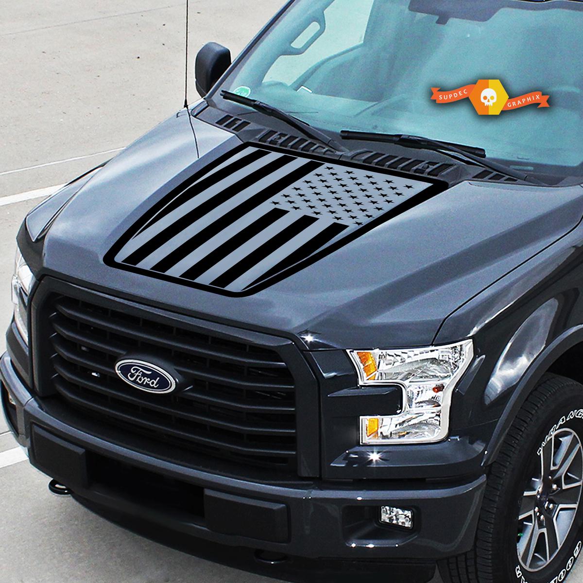 Motorhaube Ford F-150 USA Flag Center Grafik Vinyl Aufkleber LKW Aufkleber 2015-2020