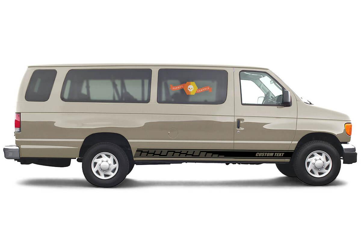 2x Seite Ford E-Serie Chassis Vinyl Streifen Karosserie Aufkleber Vinyl Grafik Aufkleber Custom Text Stil 2