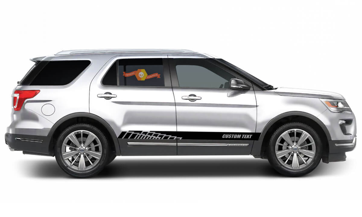 2x side Ford Explorer Vinyl Stripes body decal vinyl graphics sticker Custom Text style 3