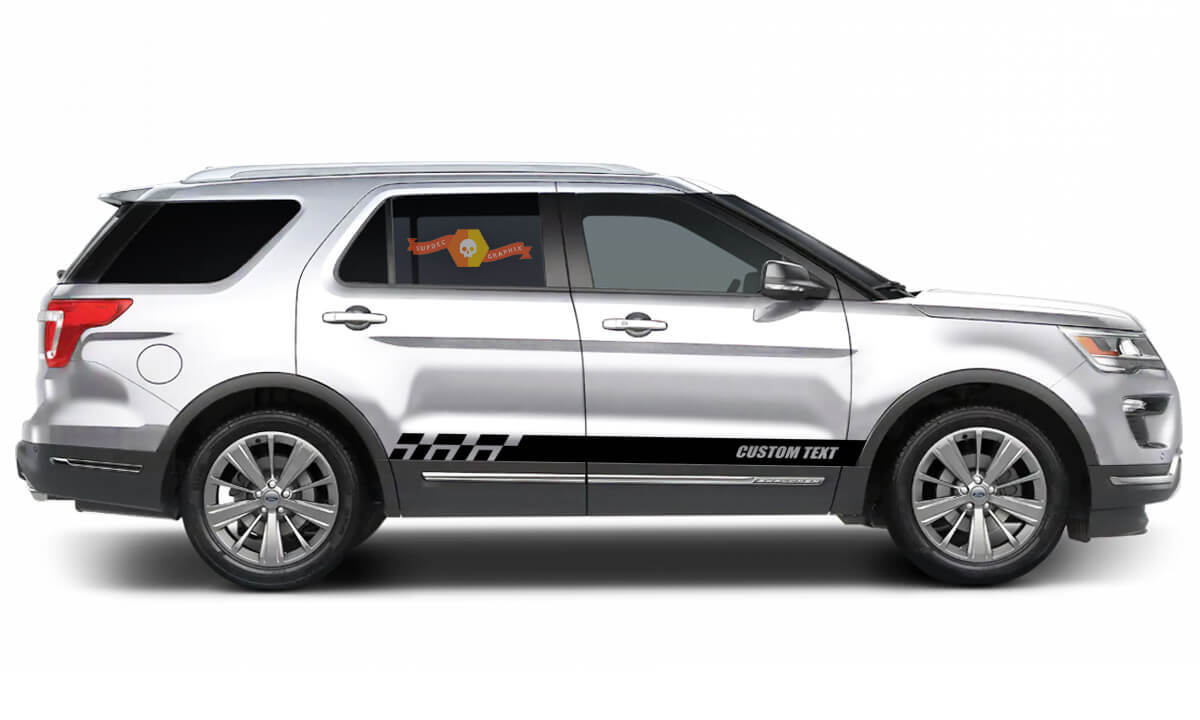 2x side Ford Explorer Vinyl Stripes body decal vinyl graphics sticker Custom Text style 4