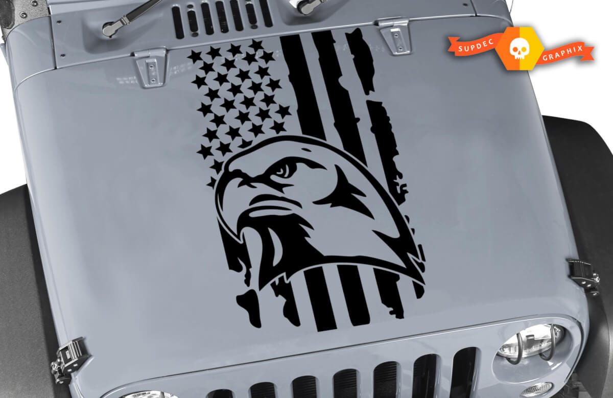 Jeep Distressed Eagle USA flag Hood vinyl sticker decal Fits any hood Bird