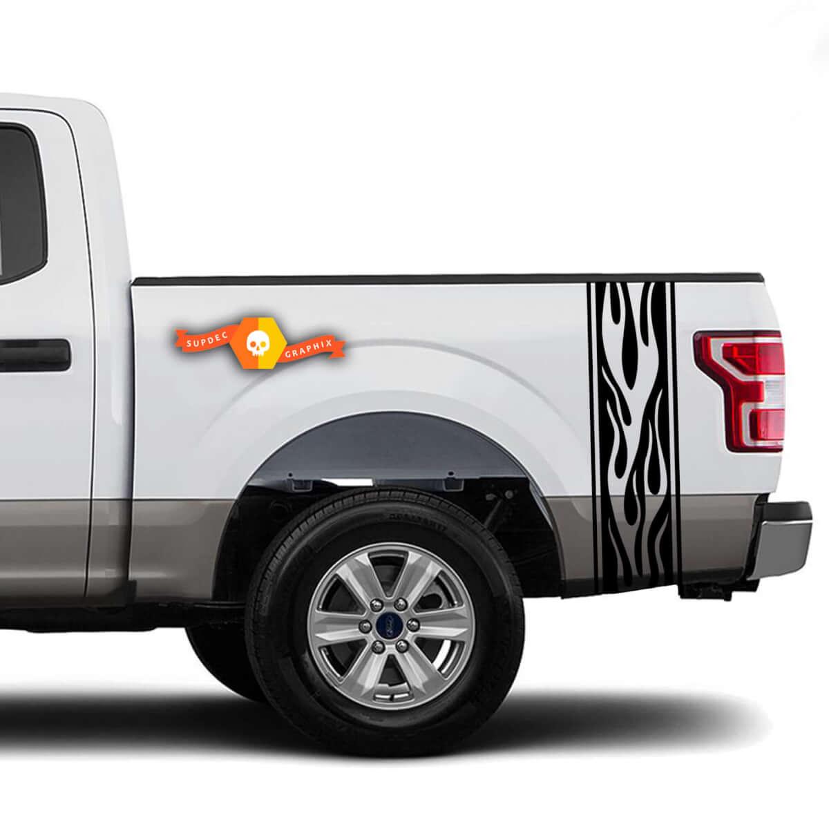 Flames Racer Bed Side Stripes Truck Aufkleber - Passend für Ram Chevy Ford Jeep Gladiator