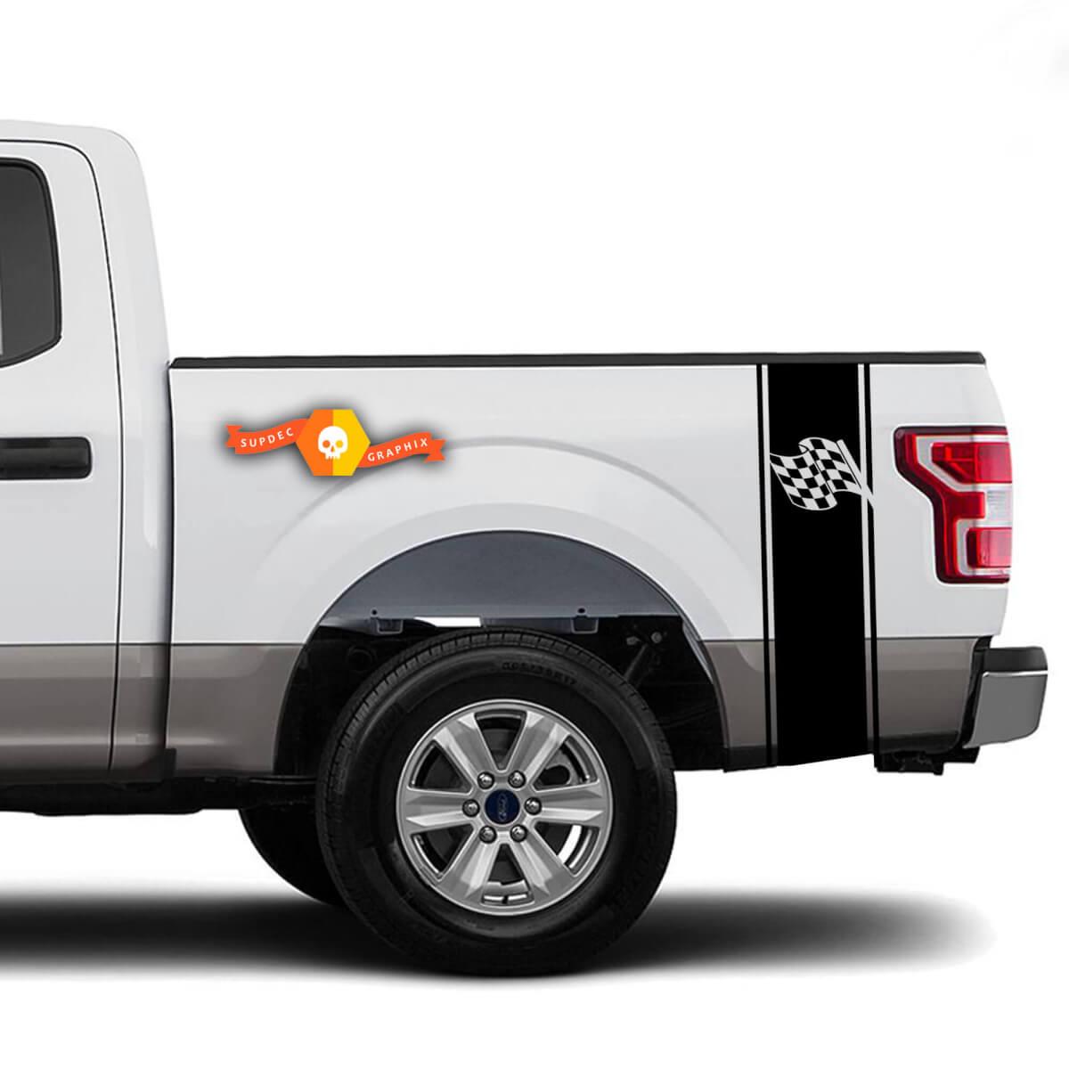Karierte Flagge Rennfahrer Bed Side Stripes Truck Aufkleber - Passend für Ram Chevy Ford Jeep Gladiator