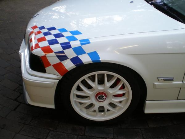 BMW Karierter FLAG Aufkleber Motorsport E36 E46 M3