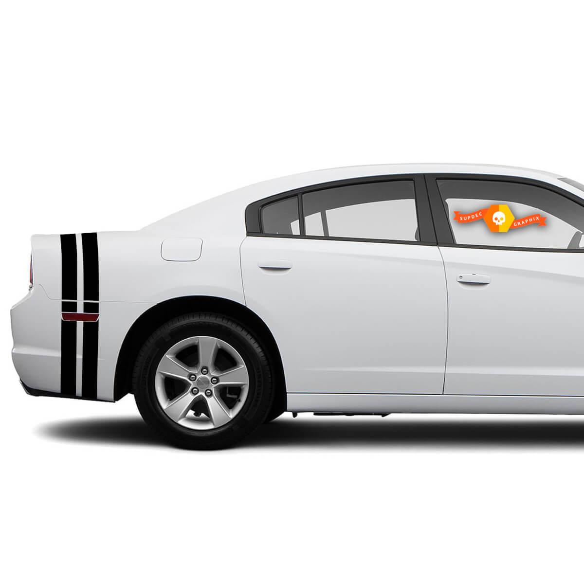 Twin Stripe Dodge Charger Kofferraumband Aufkleber Komplettes Grafik-Kit passt zu den Modellen 2011-2014