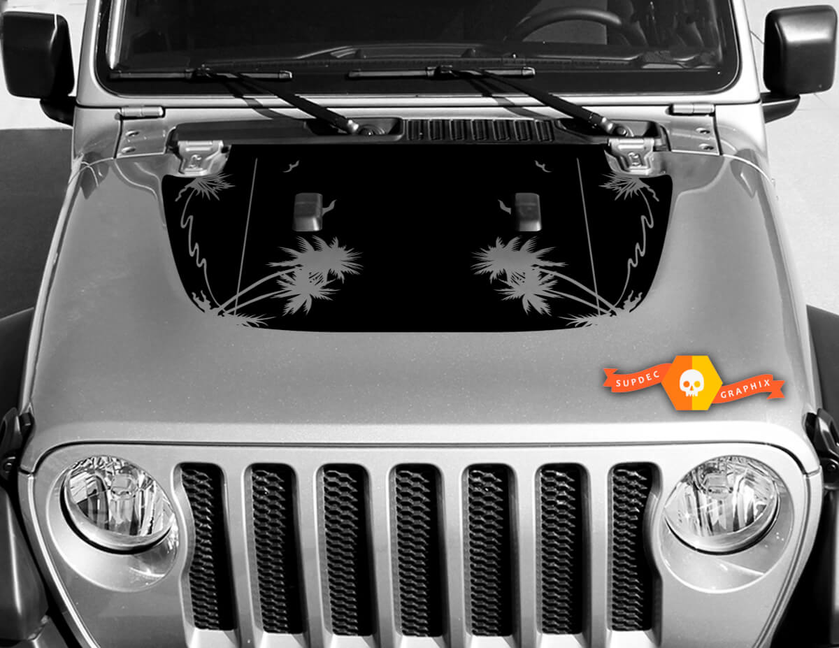 Tropical palms vinyl decal graphics sticker for hood Wrangler JL 2018 2019 #2