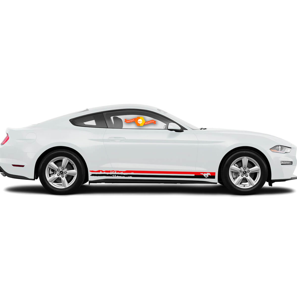 Ford Mustang  Pony Rocker Side Destroyed Stripes Graphics Decals Any Colours