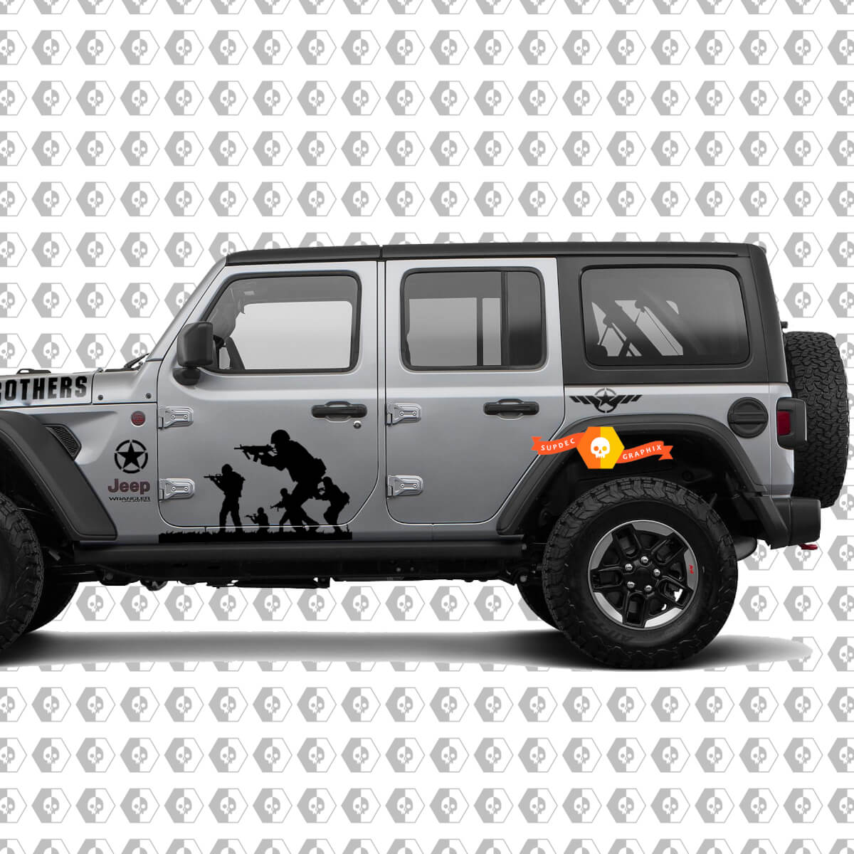 Band of Brothers US Army 9pc Vinyl Decal Kit for Jeep Wrangler