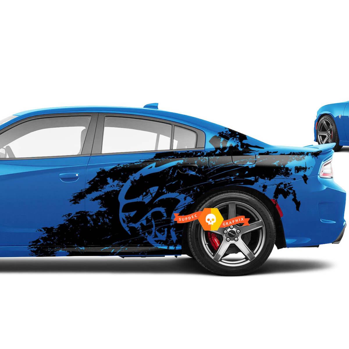 Neue Dodge Challenger oder Charger Hellcat Hölle Katze Stil Splash Grunge Stripes Kit Vinyl Aufkleber Grafik