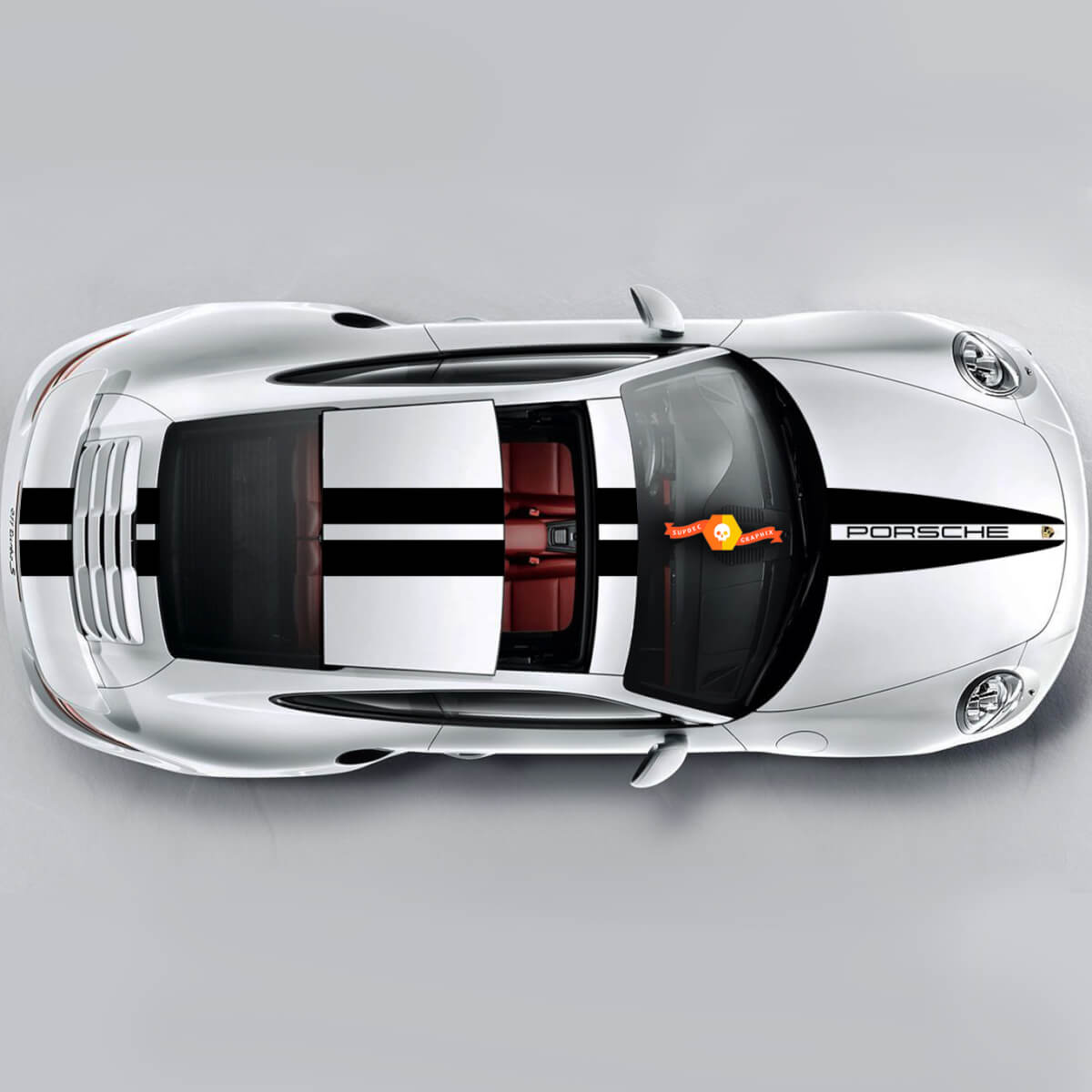 New Double Stripes Over The Top For Carrera Cayman  Boxster Or Any Porsche