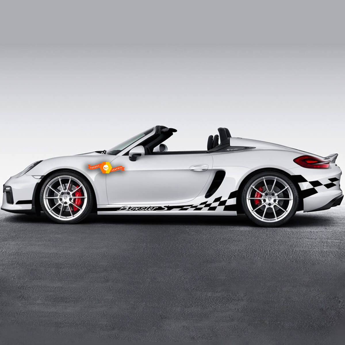 Porsche Rocker Panel Сheckered Flag Side Stripes Graphics Decal For Boxster S Or Any Porsche