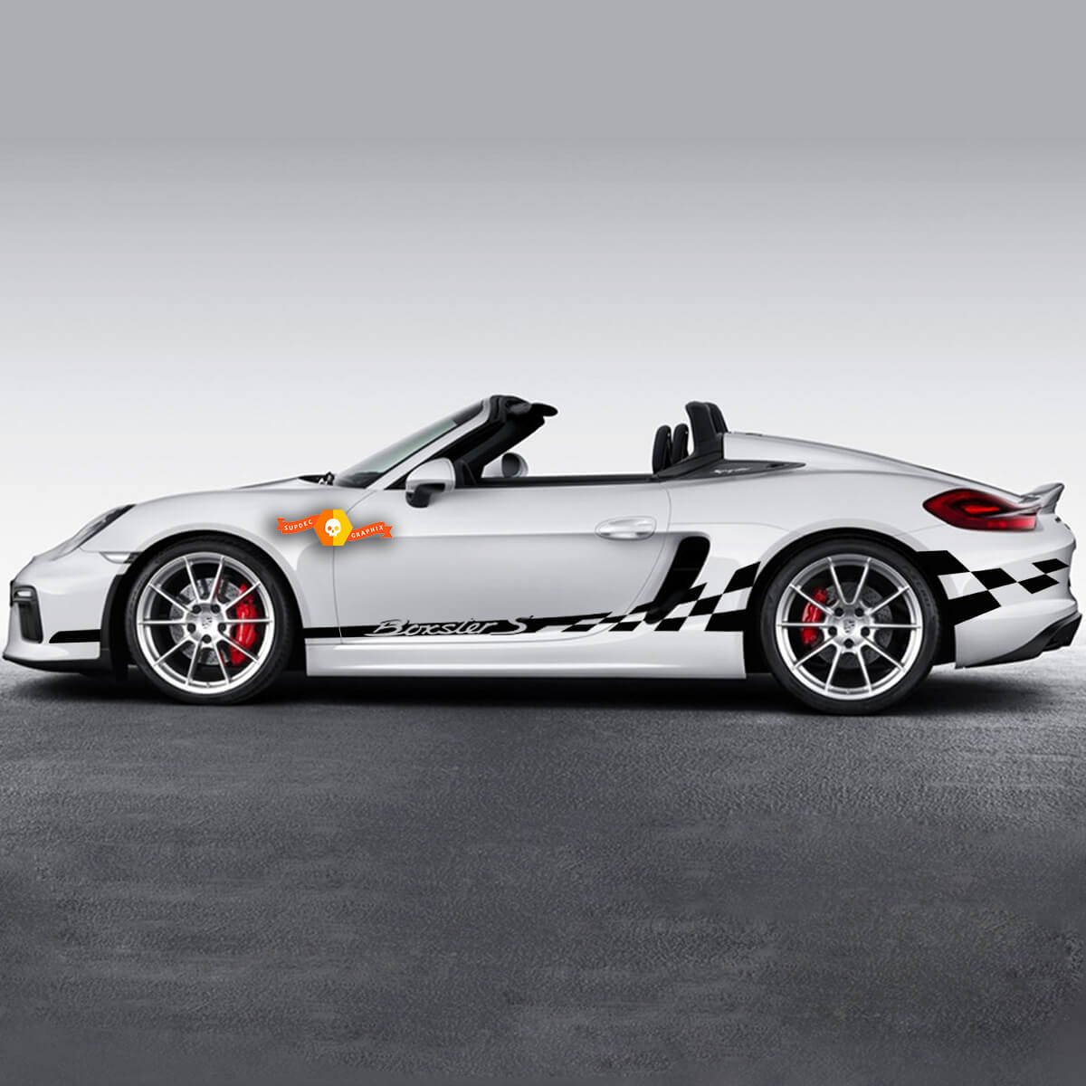 Porsche Side Сheckered Flag Side Stripes Graphics Decal For Boxster S Or Any Porsche