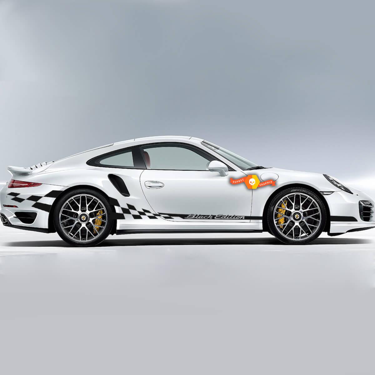 Porsche Black Edition Side Сheckered Flag Streifen