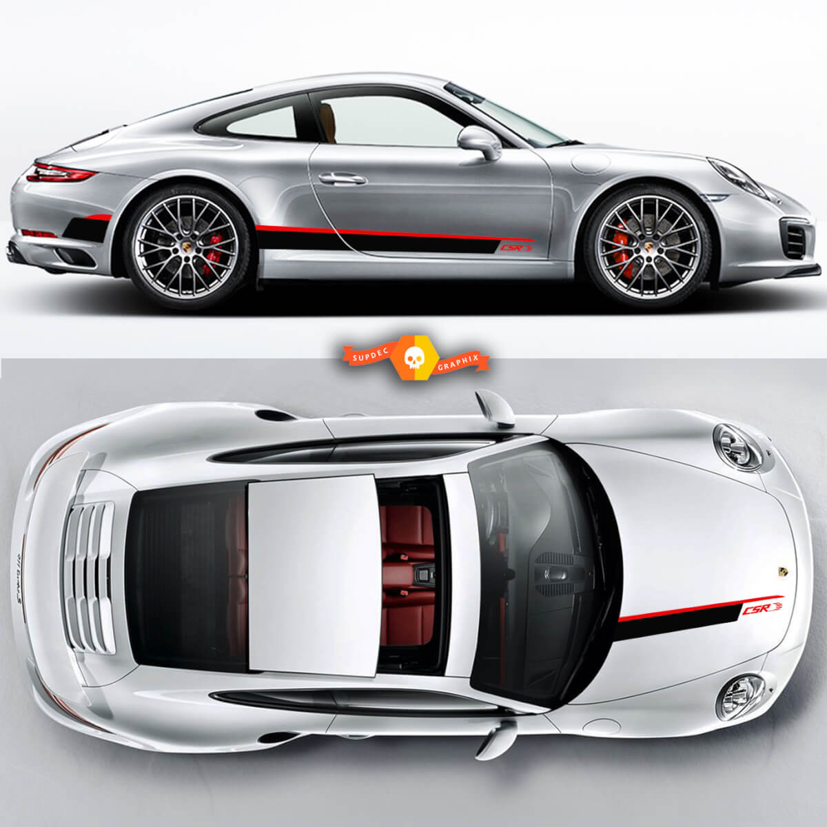 Csr Hood and Rocker Panel Graphic Decals Set Stripes For Porsche Carrera Cayman Boxster Or Any Porsche